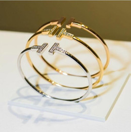 valentine gift jewelry Coupons - Korean star double diamond opening bracelet Cuff Bracelet Bangles for Women Brief Gold Color Open Charms Bracelet Jewelry valentines Gift