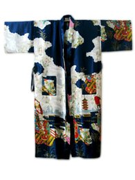 Wholesale traditional kimono robe women - Wholesale- Navy Blue Chinese Women Traditional Silk Robe Vintage Kimono Kaftan Bath Gown Novelty Printed Nightgown S M L XL XXL XXXL WR051