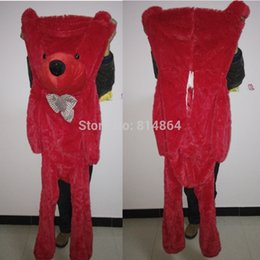 Wholesale Empty Teddies - Wholesale- 2016 Plush toys 160cm teddy bear empty shell coat bear skins Red teddy bear with zipper Christmas Valentine's Day birthday Gifts