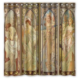 Wholesale Paint Products - Wholesale- Hot Custom Fashion Bath Products  Waterproof Alphonse Mucha Painting Print Bathroom Curtains  Decor Shower Curtain 180*180cm