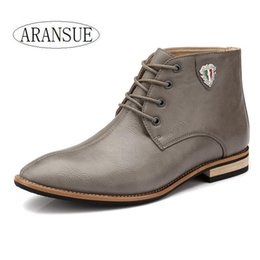 Wholesale Classic Leather Boots For Men - Wholesale-Pointed toe italian style fashion boots for men lace up classic cow leather men dress shoes luxury 2016 ankle boots spring