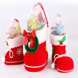 Wholesale Santa Boots Decorations - 10pcs lot Christmas Candy boots S M L Size Christmas Decorations Ornament Boots Xmas Gift Santa Claus Candy Jar Table Decor Supplies
