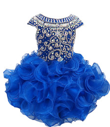 Wholesale National Cupcake Dress - National Girls Glitz Beaded Crystal Pageant Cupcake Dresses Infant Mini Short Skirts Toddler Tutu Girl Pageant Party Dresses