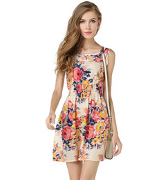 Wholesale Ladies Blue Print Dress - New Sleeveless Floral Dress Pink Blue Short Small Flower Office Ladies One Piece Mature Women One-piece Black