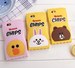 Wholesale Cartoon Chips - Japan 3D Cute cartoon Silicone Chips rabbit duck candy bear for Iphone SE 5 5S 6 6s plus 7 7plus mobile phone case