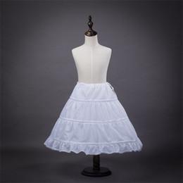 Wholesale Hoops For Girls Dresses - Brand New Children Petticoats for Flower Girl Dress Formal Gown 3 Hoops White Crinoline Little Girls Kids Child Princess Underskirt
