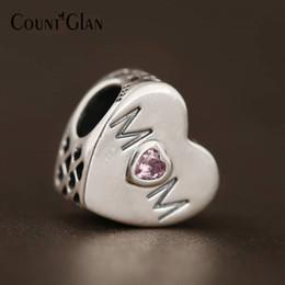 Pandora amor rosa cz online-Madre corazón cuentas Fit Pandora Charms pulseras de plata esterlina 925 Original Pink CZ mamá corazón Love Beads para joyería que hace Diy
