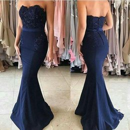 Wholesale Sweetheart Chiffon Pleated Long Dress - Navy Blue Simple 2017 Bridesmaid Dresses Sweetheart Lace Appliques Beads Pearls Floor Length Mermaid Prom Party Gowns