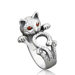 Wholesale Thai Gifts Wholesale - 2017 Retro Style Cute Cat Thai Silver Color Sterling Ladies Adjustable Size Rings Jewelry Gift For Girl