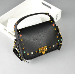 Wholesale Pillow Bag One - Lady handbag 2017 new Europe and the United States green pine gem his parcel one shoulder rivets pillow bags high quality free shipping