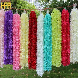 Wholesale Ocean Yellow - Artificial Flowers Wedding Decorations Silk Flowers Wedding Simulation Ocean Orchid Flower String Hydrangeas 1M Wall Hanging Strings