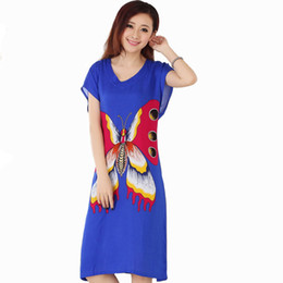Wholesale white cotton nightgowns wholesale - Wholesale- New Blue Butterfly Women's Cotton Robe Female Summer Casual Home Dress V-Neck Nightgown Sleepwear Long Bathrobe One Size NR206