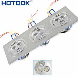 Wholesale Head Lamp Shop - Wholesale- Triple head 9W led ceiling light square recessed 9 led luminaria spot down lamp home bathroom shop lighting110V-220V