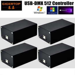 Wholesale Lighting Sd Card - 4pcs lot New Quman HD512 USB-DMX512 Dongle Controller PC SD Card Mode Led Stage Lighting Martin Light Jockey Pearl Diamond WIN10