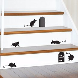 Wholesale mouse wall stickers - Happy Halloween Animal Mice Doors Silhouettes Living Room Vinyl Carving Wall Decal Sticker for Holiday Party Home Window Decor