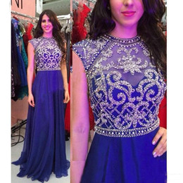 Wholesale Long Purple Sparkly Homecoming Dress - Sparkly Beaded Crystals 2017 Pageant Evening Dresses For Teens Royal Blue Chiffon Cap Sleeves Long Formal Homecoming Prom Party Gowns Cheap