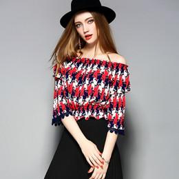 Wholesale Elegant Ruffled Blouses - De Fee 2017 High-End Ruffles Sleeve Elegant Top Summer Slash Neck Shirt Blouse New Red Sexy Women Blouse Shirt Fox Printed Tops