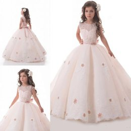 Wholesale Cheap Lace Flowergirl Dress - Cheap Light Blush Pink Flower Girl Dresses For Weddings Lace Applique Kids Ball Gown Flowergirl Sweep Train First Communion Dress