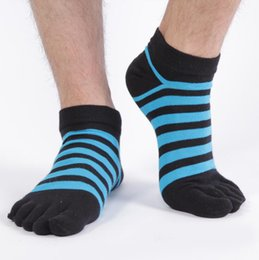 Wholesale White Ankle Toe Socks - Man Fun Toe Sock Summer Casual Deodorant Anti-Bacterial Sports Striped Cotton Socks Black White Gray Available