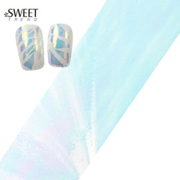 Wholesale Diy Bling Stickers - Wholesale- 100cmx4cm Glitter Bling Nail Art Broken Glass Foils Finger Stencil Decal Stickers DIY Beauty Adhesive Decor Manicure Tools BL02