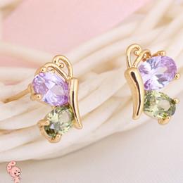 Wholesale Kids Butterfly Earrings - Kids Jewelry 18K Yellow Gold Plated AAA+ Cubic Zirconia CZ Cute Butterfly Animal Stud Earrings for Children Girls Festive Gift