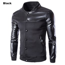 Wholesale Free Standing Cooler - Wholesale- Free Shipping Leisure Cool Design Leather Stand Collar Men's Jacket Coat Long Sleeve Fashion Single Breasted Men Fleece Jacket