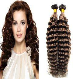 Wholesale I Tip Hair Extension Curly - Deep curly Human hair extensions keratin i tip hair extensions curly #6 Medium Brown Indian Remy 100g keratin human hair extension