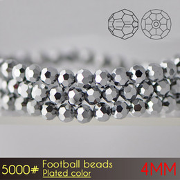 Wholesale Shiny Silver Plated Beads - Free shipping glass round beads 32 facets manufacturer Football Beads 4mm Plated Colors A5000 100pcs set brilliant round shiny beads