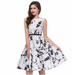 Wholesale Print Audrey - Summer Womens Dress Plus size 4XL Clothing Audrey hepburn Floral robe Retro Swing Casual 50s Vintage Rockabilly Dresses Vestidos DK3022MX