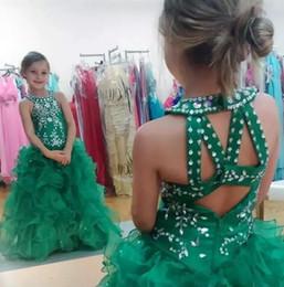 Cristales de Hunter con cuentas Collar Girls Vestidos del desfile 2018 New Sequins Vestido de bola Organza Faldas Vestidos de niña de las flores Ropa barata para adolescentes desde fabricantes