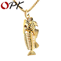 Wholesale Bone Hook Necklace - Wholesale-OPK Fish Bone & Fishing Hook Pendant Necklaces Punk Style Men 316L Steel Link Chain 3 Colors Personality Jewelry GX1073
