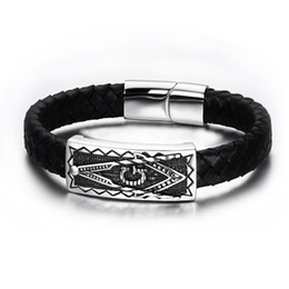 Wholesale Magnet Religious - Fashion Leather Men's Freemason Charm Bracelets Punk 316L Stainless Steel Magnet Clasps Masonic Freemason Wristband Bangle Religious Jewelry