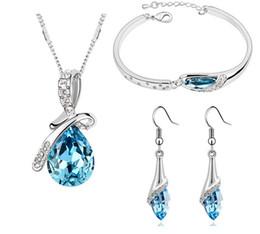 Wholesale Zircon Necklace Sets - Best Price Austria Zircon Crystal Necklace Earrings Bracelet Jewelry sets Fashion Women Crystal Necklace Jewelry Set Mix Color Free