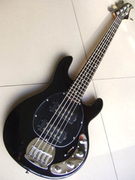 Wholesale Black Red Guitar - Wholesale-New arrival musicman Ernie ball 5 string Ray electric bass Guitar OEM Musical Instruments in black 110111