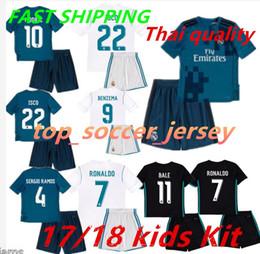 Wholesale Real Jersey Child - 2017 2018 Kids Real madrid Home third soccer Jersey Kits RONALDO LUCAS V MORATA JAMES BALE RAMOS ISCO MODRIC away black child Football Shirt