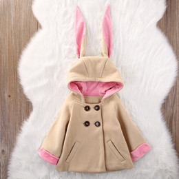 Wholesale Girls Over Coat - Baby Coat Jacket for Girl Cute Autumn Winter Toddler Kids Rabbit Bunny Pattern Warm Hooded Over Coat Children Jackets Girls Clothes Outwear