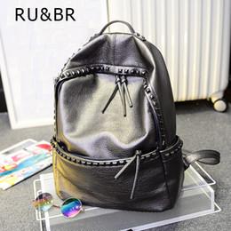 Wholesale Leather Fashionable Backpacks - Wholesale- RU&BR Vogue Fashionable Bags Teenage Leisure Travel Leather Rivet Backpack Girl Japan Harajuku Female Waterproof Rucksack Bag