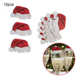 Wholesale Glass Table Stand - Wholesale- 10pcs Lot Red Card Christmas Hat Accessories Fun Glass Decorations paperboard stand santa hats holder dinner table party decor
