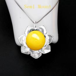 2019 jóias semi-finas Fine Silver 12mm Rodada Bead ou Pérola Semi Mount Pingente 925 Sterling Silver Jewelry Setting jóias semi-finas barato