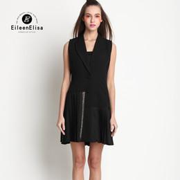 Wholesale Dresses For Work Summer - Women Office Dress Work Wear Summer Black White Formal Dresses Formal Office Dress for Women Ladies Office Dress Knee Length
