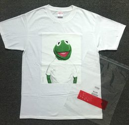 Wholesale Frog Cottons - 2017 summer hip hop casual brand KERMIT BOX LOGO TEE Sesame Street Cartoon Frog cotton men and women short sleeve T shirt men..