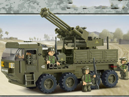 Wholesale Army Toys - Building blocks of heavy truck to play lu army panzer corps M38 - B0302 assembling toys