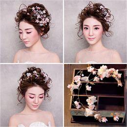 Cheap powder pink wedding dress - Woman headdress hair III. ten peach powder soft headband chain bride wedding dress accessories 154230 lomen headdress