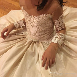 Wholesale Toddler Girls Long Pageant Dresses - Lace Applique Flower Girls Dresses For Wedding Sheer Neck Bow 2017 Beads Long Sleeve Flower Girl Dress Best Selling Birthday Pageant Dresses