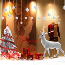 Wholesale Tree Window Art Decals - White deer Wall Sticker Window Glass Background Home Christmas Decoration Bedroom Art Decals Fawn Tree Wallpaper