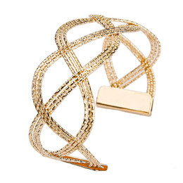 Wholesale Hollow Cuff Bangles - Pop Luxury Fashion Women's Punk Style Gold Plated Charm Hollow Cuff Bangle Bracelet Women Jewelry Party