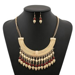Wholesale Vintage Red Rhinestone Jewelry Set - 2017 Vintage Tassel statement Jewelry Sets Red Gem Flower MultiLayer Gold Plated Fashion Coin Behomian Pendant Necklaces for Women wholesale