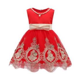 Лето сладкий прекрасный бантом без рукавов круглый воротник Принцесса цветок девушка платье детский день танцевальное шоу одежда Бесплатная доставка от