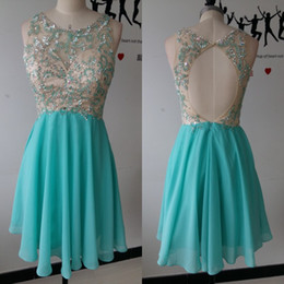 Wholesale Light Blue Collared Chiffon Dress - 2017 Cheap Beads Short Prom Dresses Sheer Neck A-Line Chiffon Homecoming Dresses Crytrals Backless Zipper Guest Dresses With Free Necklace