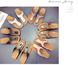 Wholesale Wholesale Ladies Slippers - Cork Slippers Sequins Beach Flip-flops Women Fashion Soft Wooden Sole Slippers Lady Sexy Flat Flip Flops Outdoor Vogue Slippers Sandals